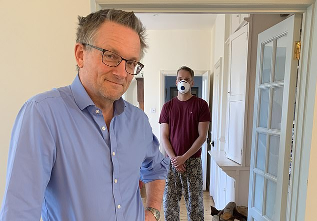 Michael Mosley at home with his son Dan