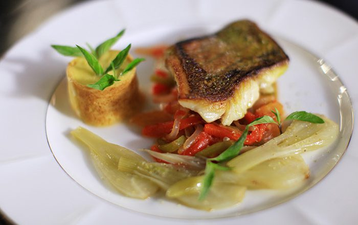 Chef Michel Roux's Pan Fried Red Snapper With Piperade And Aioli Sauce