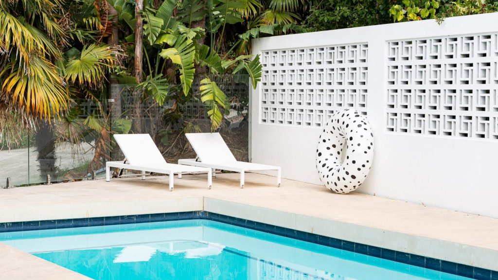holiday at home design tips. pool and sun loungers.