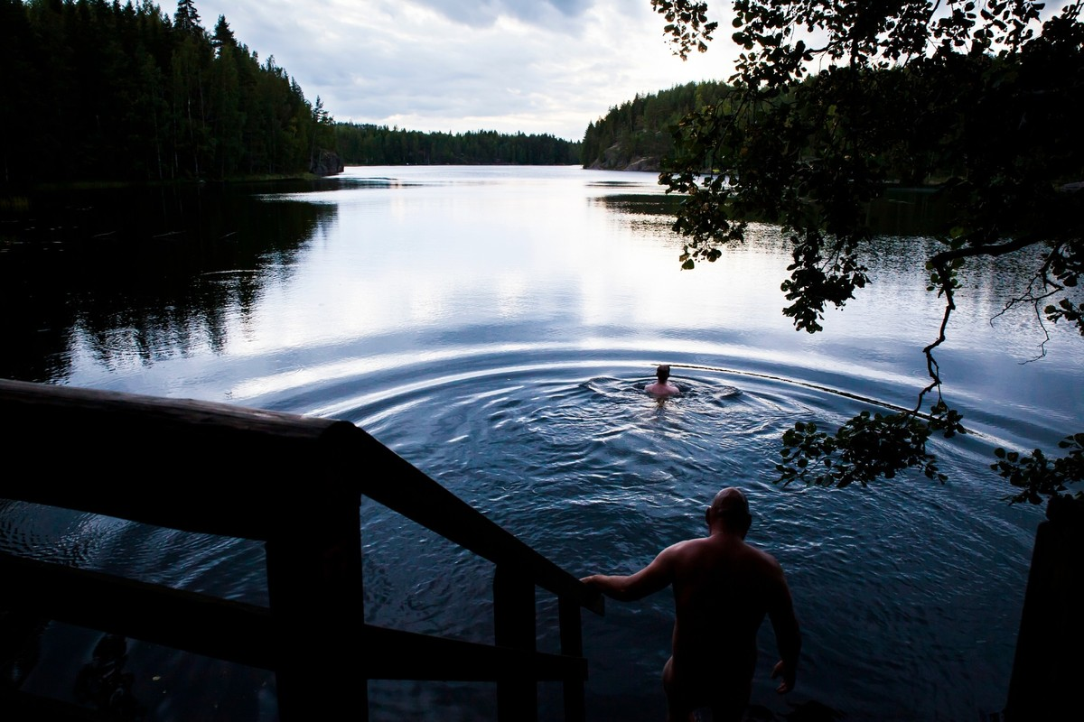 Joy of Water, Bathing in Lake Saimaa after a sauna, Finland