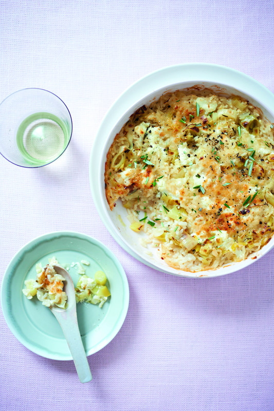 Baked leek and goats cheese recipe by Donna Hay