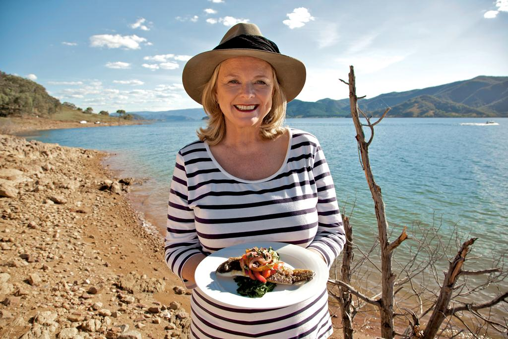 Lyndey Milan at Blowering Dam with Murray Cod with 'peperonata' and wilted spinach
