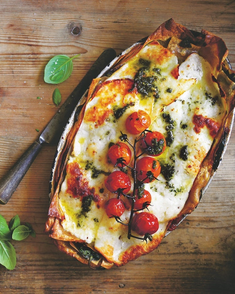 roast tomato, basil and haloumi lasagne recipe