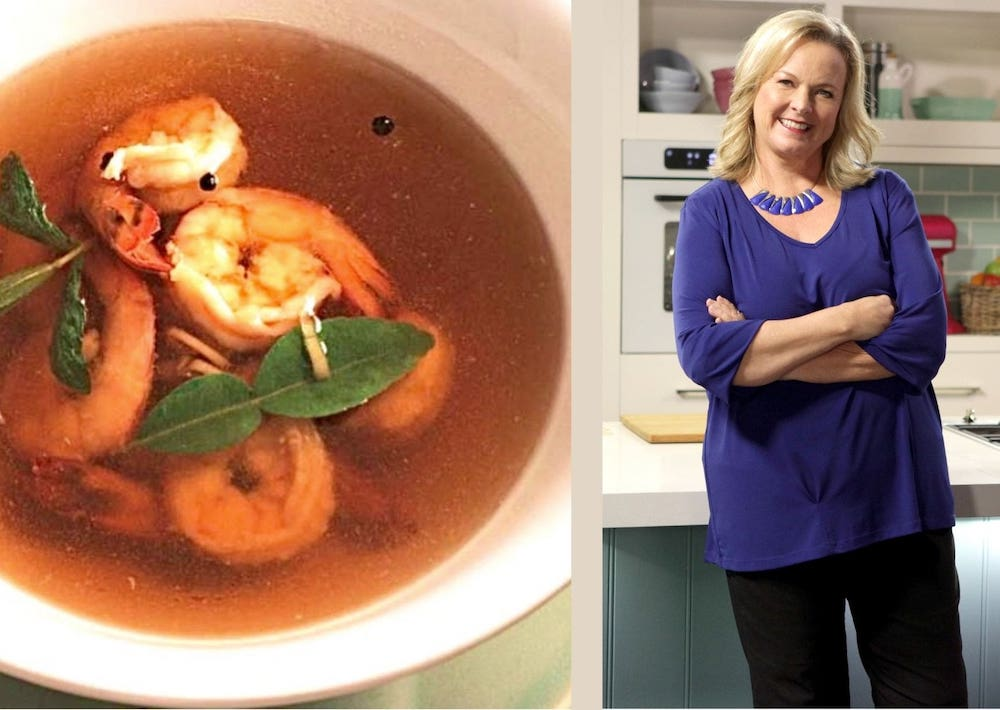 Prawn in Lemongrass broth, Lyndey Milan