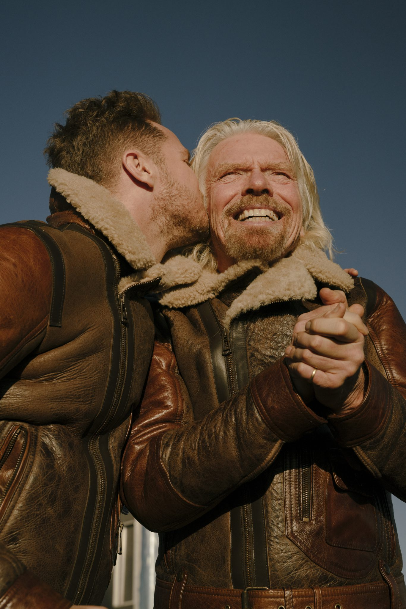 Richard and Sam Branson during Virgin Galactic's First Spaceflight 2018