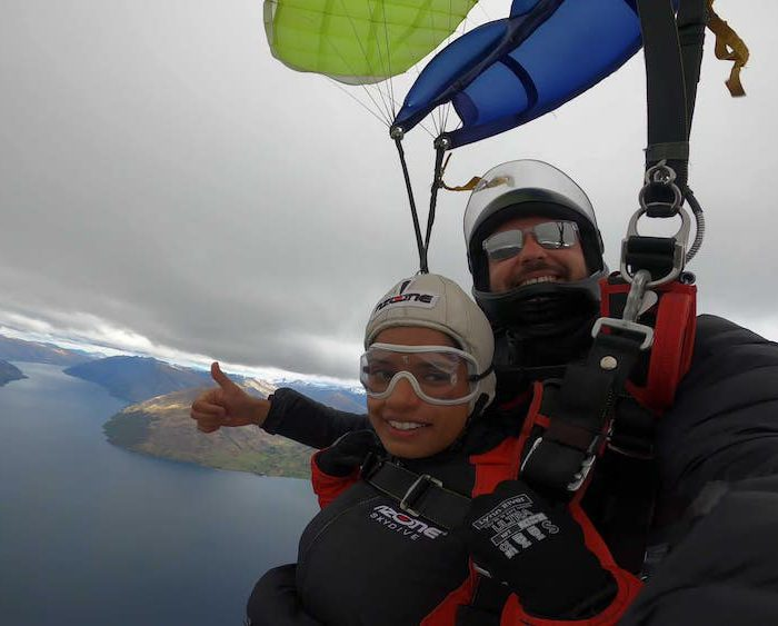 Couple On Cloud Nine After Skydiving Proposal