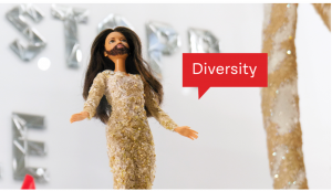 Barbie doll of bearded lady and Eurovision Song Contest winner Conchita Wurst in the museum's main exhibition © hdgö